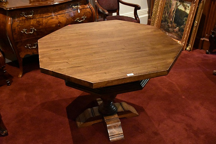 A good quality French provincial walnut single drawer octagonal occasional table. Height 78cm, Width 107cm