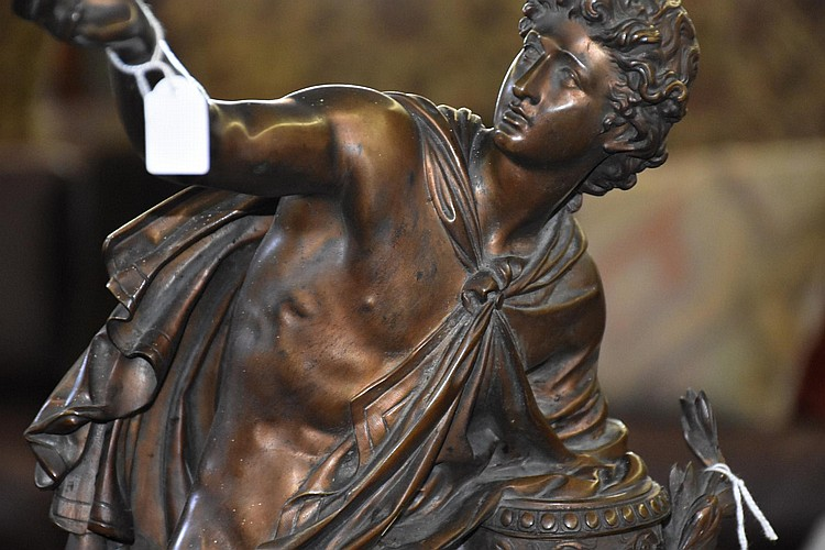 A most outstanding French 19th century bronze and marble time piece, the bronze figure depicting the seated classical gent, signed Barbediene of Paris. Height 77cm, Width 46cm