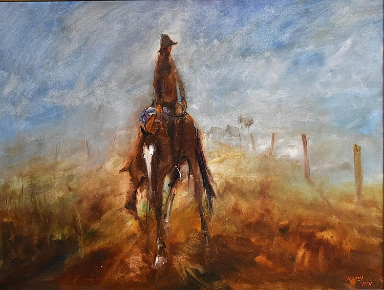 Hugh Sawrey. An outstanding original oil on canvas depicting the stockman on horseback in the Australian outback. Height 75cm, Width 100cm