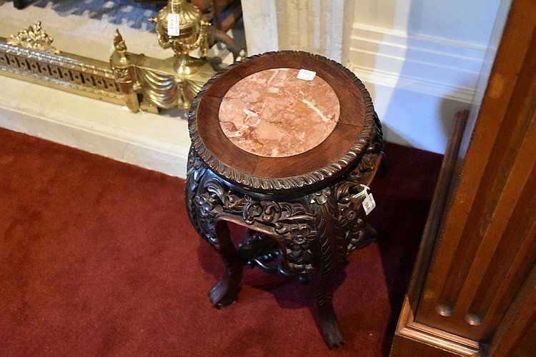 A lovely Chinese 19th century Cherrywood pedestal having detailed floral carving and fitted with a marble top. Height 46cm, Width 29cm