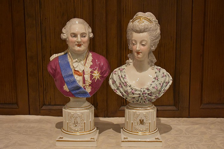 An outstanding pair of French 19th century Sevres vases having lovely ormolu mounts, with central hand painted panels depicting the romantic couple. Signed Maxant. Height 52, width 24cms.