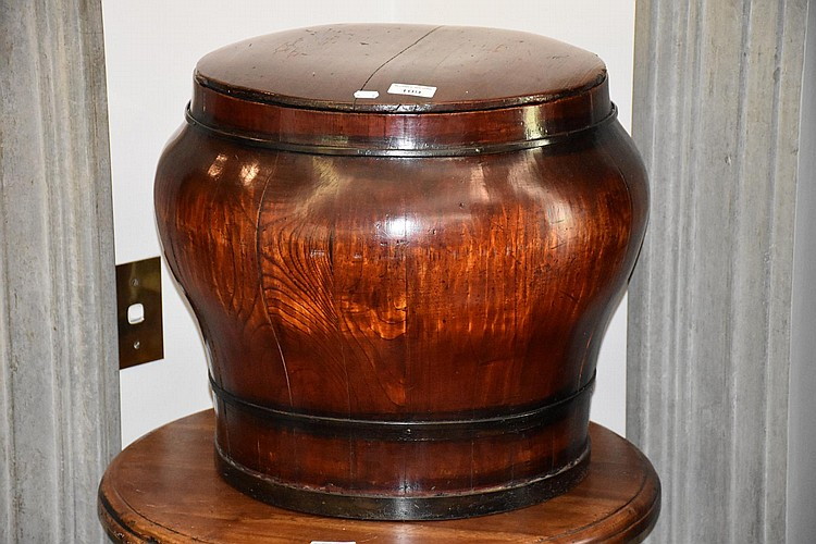 A timber Chinese lidded hardwood temple vase. Height 40cm, Width 46cm