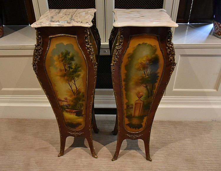 A fine pair of French Kingwood marble top pedestals having Veni Martin panels and fine ormolu mounts. Height 116, width 44cms.