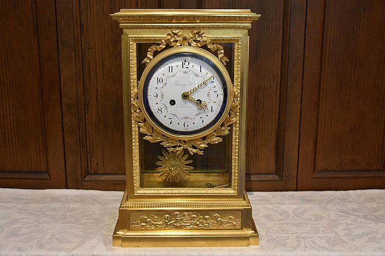 A finest French 19th century ormolu salon clock, having hand painted enamel dial, signed Raingo of Paris. Height 45cm, Width 27cm