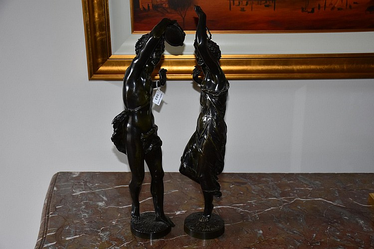 A superb par of French 19th century bronze figures of the musical lady and gent, signed Rancoulet. Height 53cm, Width17cm