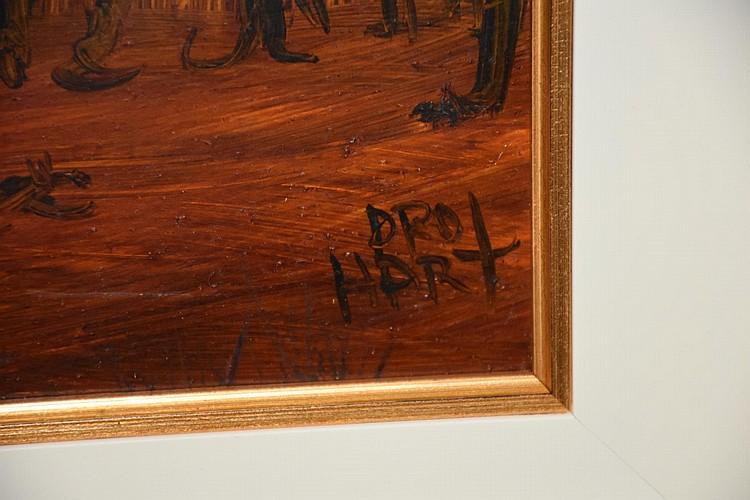 Kevin Charles 'Pro' Hart. A fine Australian oil on board depicting the community bush gathering. Height 66cm, Width 88cm