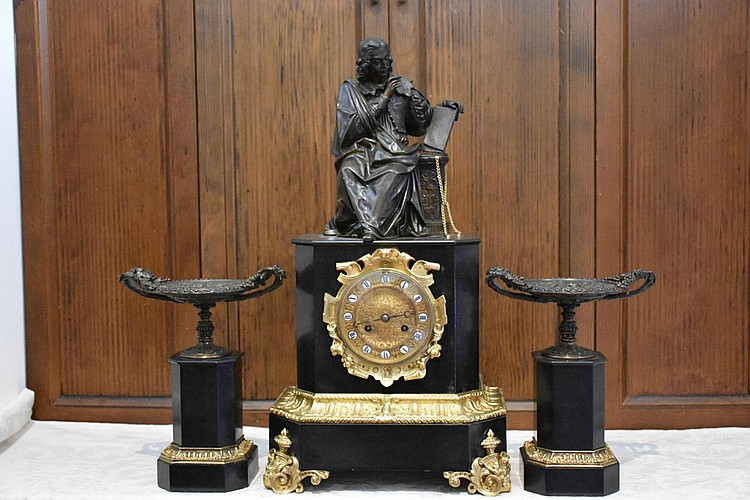 A truly magnificent French 19th century marble three piece clock set having fine bronze figure of the scholar and side urns. Height 55cm, Width 30cm