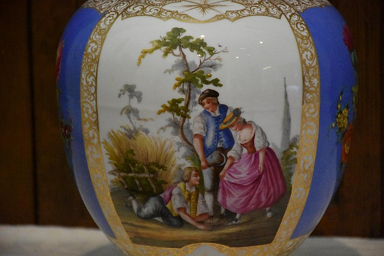 A good 19th century pair of Augustus Rex lidded vases having hand painted figure in landscape and floral decoration. Height 36cm, Width 20cm