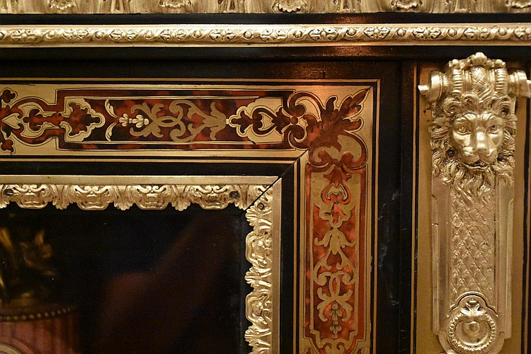 A finest French 19th century boulle salon cabinet having lovely inlay, ormolu mounts and fitted with a marble top. Height 110cm, Width 74cm