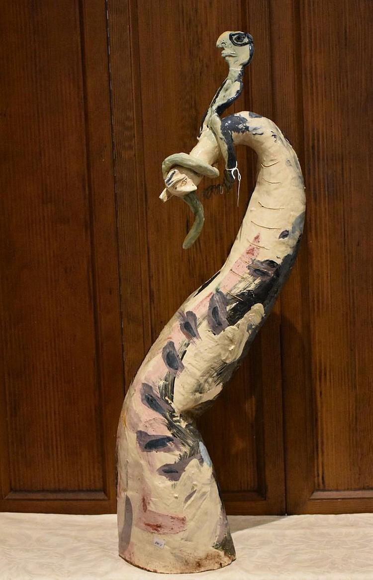Deborah D Halpen. An interesting Australian porcelain figure group of the male riding the serpent, having all over hand painted decoration. Height 88cm, Width 23cm