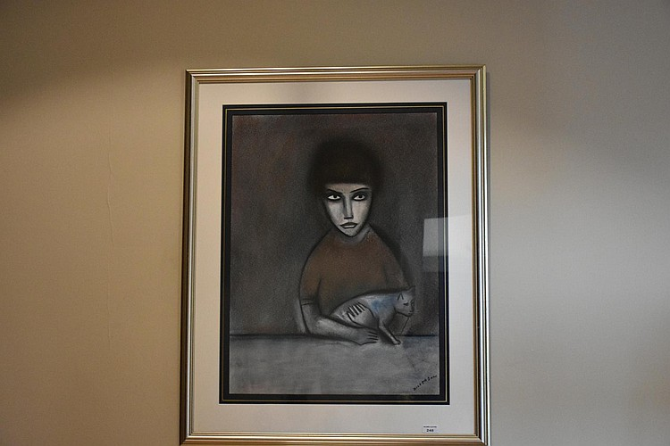 Robert Dickerson. An fine and original Australian pastel on paper of the young girl with her cat. Height 74, width 55cms.