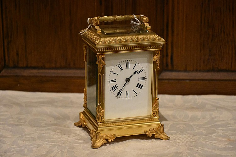 A superb French 19th century four glass push repeat time piece having superbly detailed ormolu surrounds. Height 20cm, Width 12cm