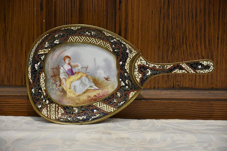 A good French 19th century champ leve enamel dish having hand painted maiden decoration. Height 3cm, Width 26cm