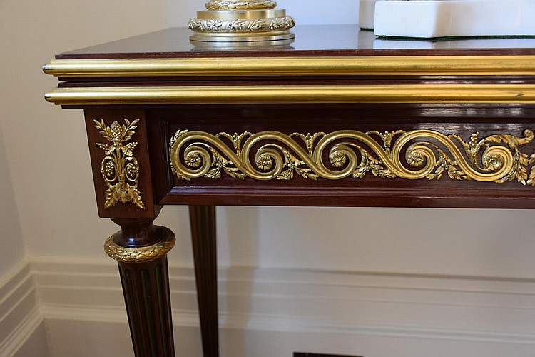 A museum quality French 19th century mahogany fold over card table having finest ormolu mounts, signed and dated by the maker Henry Dasson 1881. Height 75cm, Width 86cm