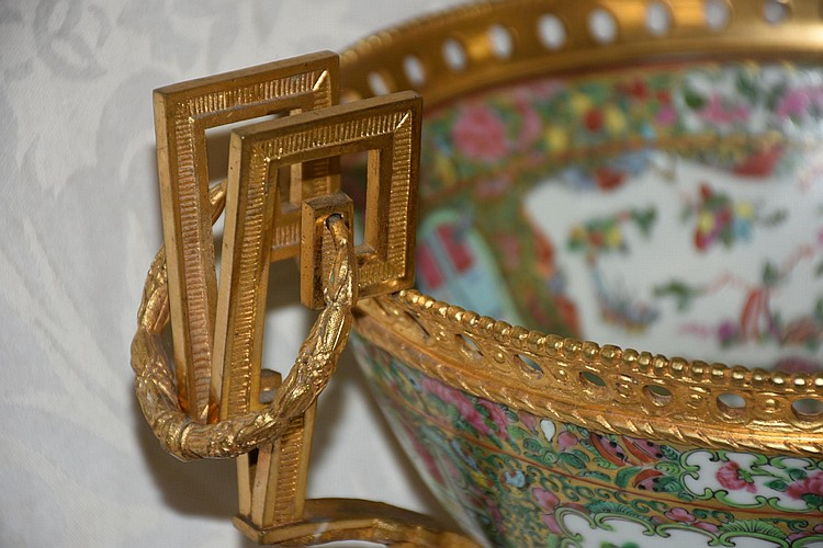 A superb quality Chinese cantonese bowl having superb ormolu mounts. Height 27cm, Width 35cm