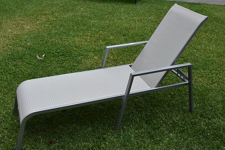 An outdoor sun lounge. Height 52, width 160cms.