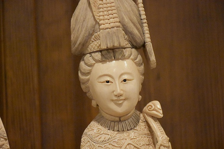 A superb pair of Chinese 19th century hand carved ivory figures of the noble lady and gent in traditional dress. Height 55cm, Width 14cm