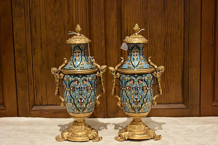A great pair of French 19th century chomp leve enamel and ormolu castelette having floral decoration. Height 31, width 15cms.