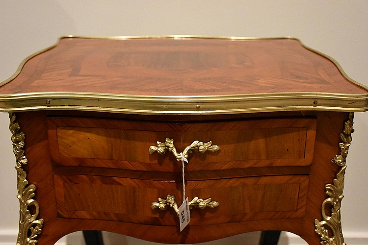 A good French 19th century kingwood two drawer occasional table having fine inlay and ormolu mounts. Height 74cm, Width 42cm