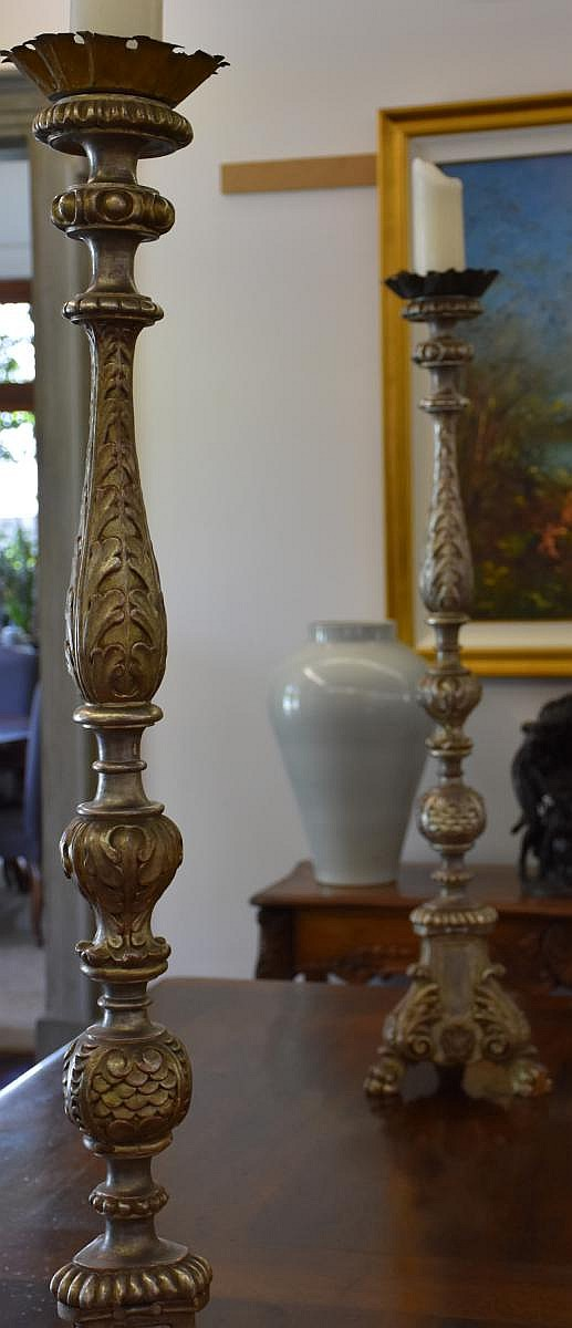 A wonderful pair of French silver gilt carved torchere supported on tripod base. Height 123cm, Width 25cm