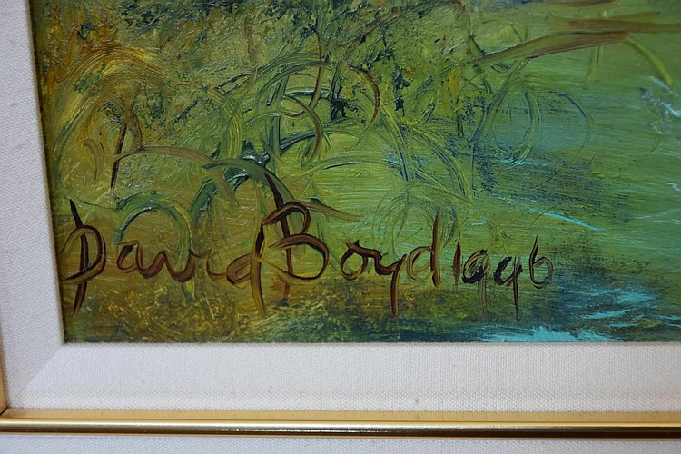 David Boyd 1996. A fine original Australian oil on board depicting the maiden by the watering hole, with wombats and birds surrounding. Height 49cm, Width 49cm