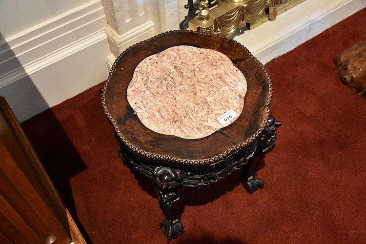 A good Chinese carved Cherrywood pedestal having a marble top. Height 38cm, Width 37cm