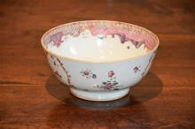 A superb 18th century porcelain bowl having hand p