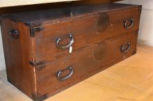 A pair of Japanese antique two drawer chests havin