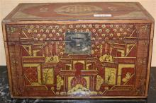 A Chinese lacquered box and a lacquered tray