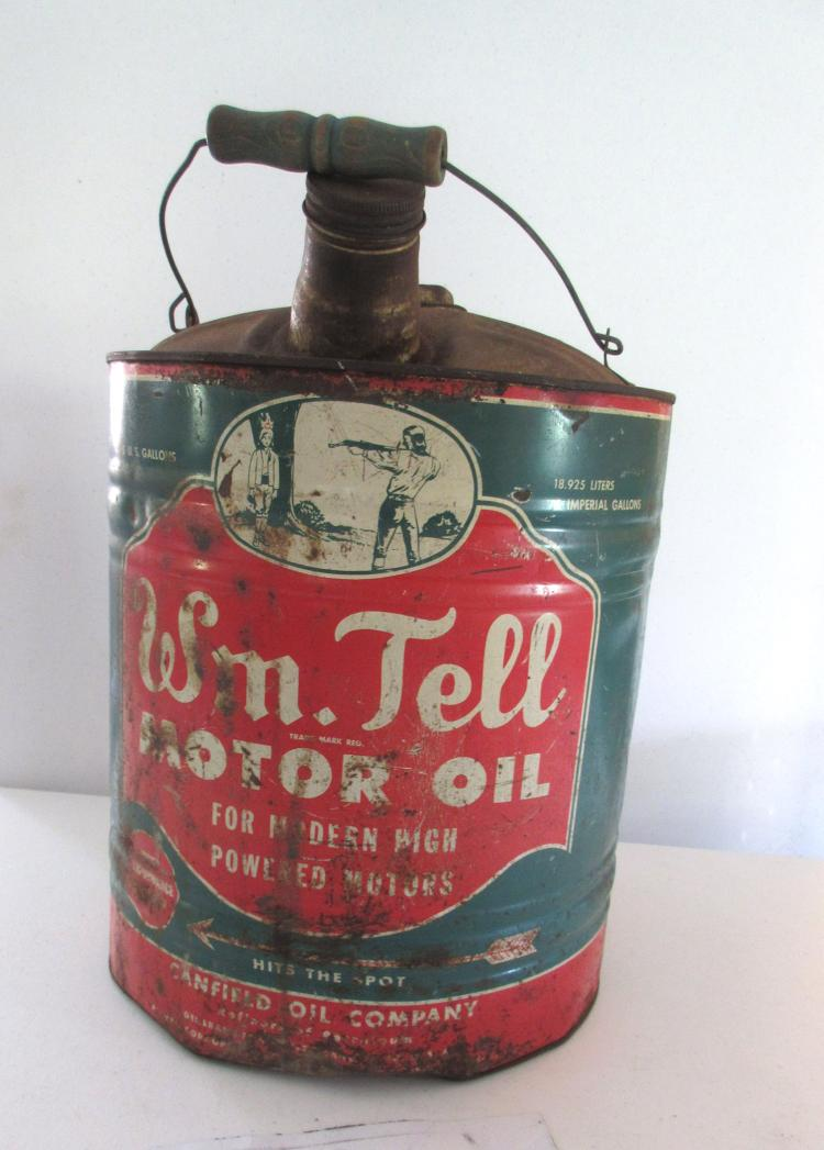 William tell 5 gallon motor oil tin for Gallon of motor oil