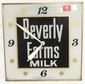 1958 - Beverly Farms Milk light-up clock w/ glass face - Pam Clock Co. - hour hand bent - works