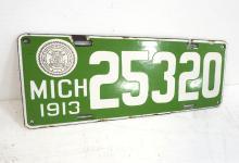 1913 Michigan License Plate