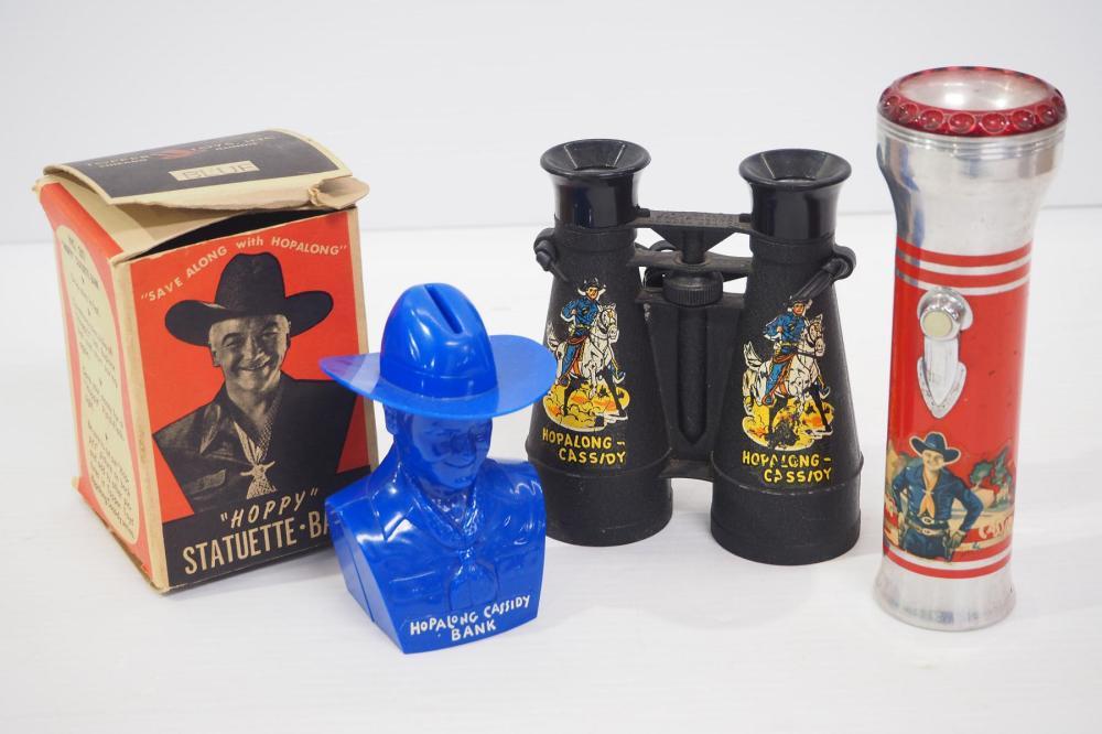 Hopalong Cassidy binoculars, flashlight & bank