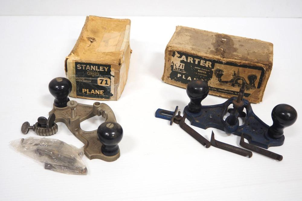 (2) Open Throat Router Planes with boxes