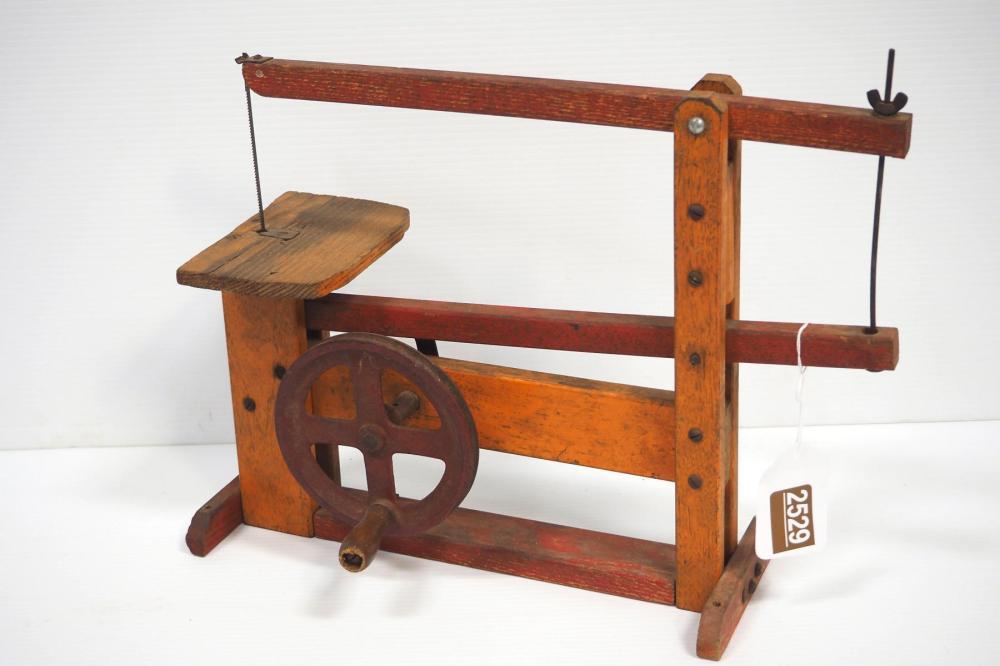 Miniature wooden hand-crank band saw