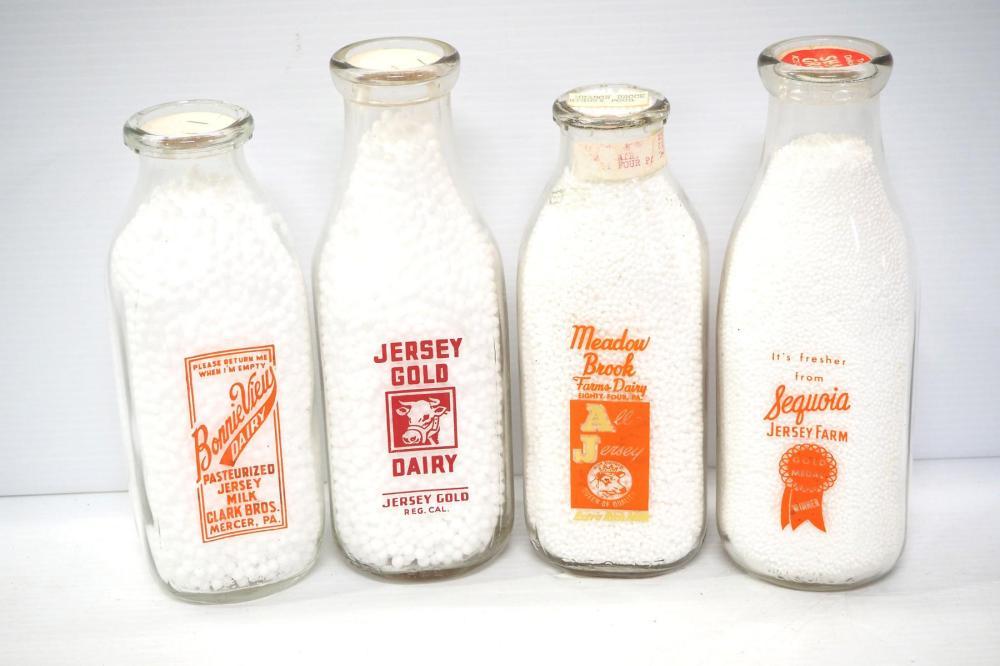 (4) 1-quart glass milk bottles