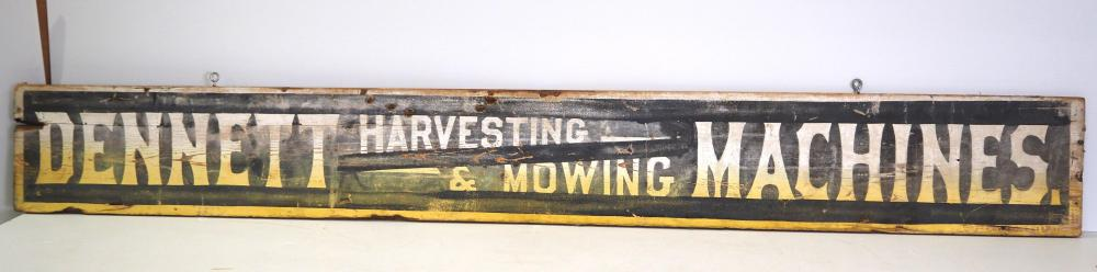 Dennet Harvesting and Mowing Machines sign