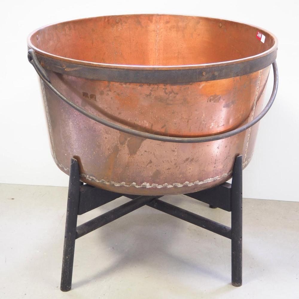 """33""""dia. Copper kettle with stand"""