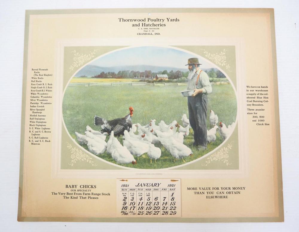 1921 Thornwood Poultry Yards calendar