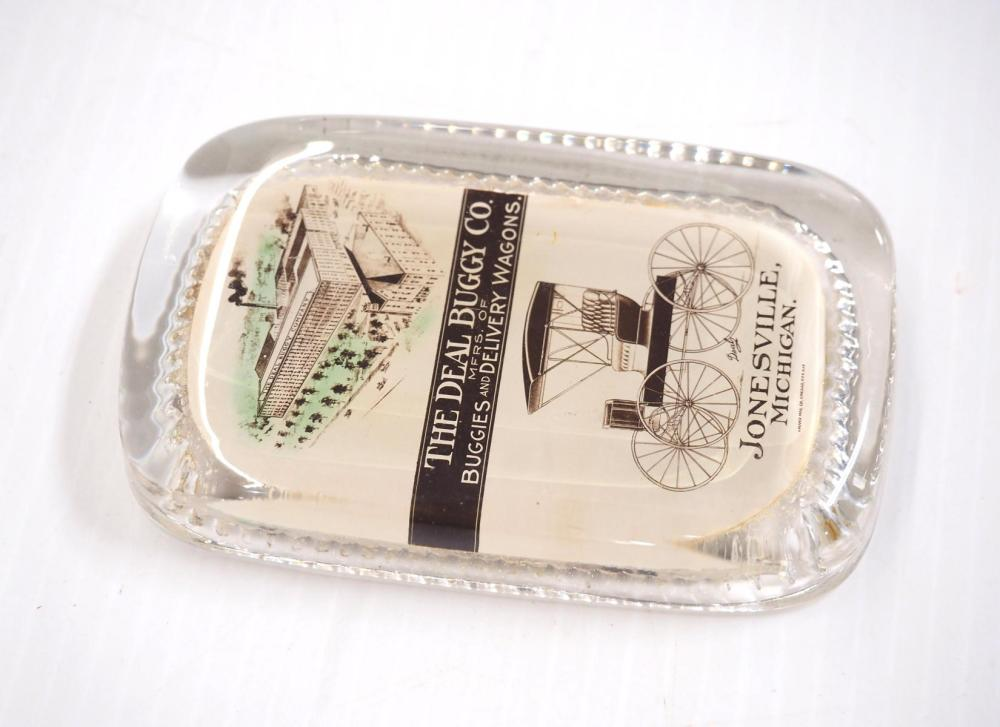 Ideal Buggy Co. glass paperweight