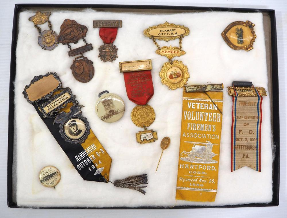 (12) Early fireman convention badges
