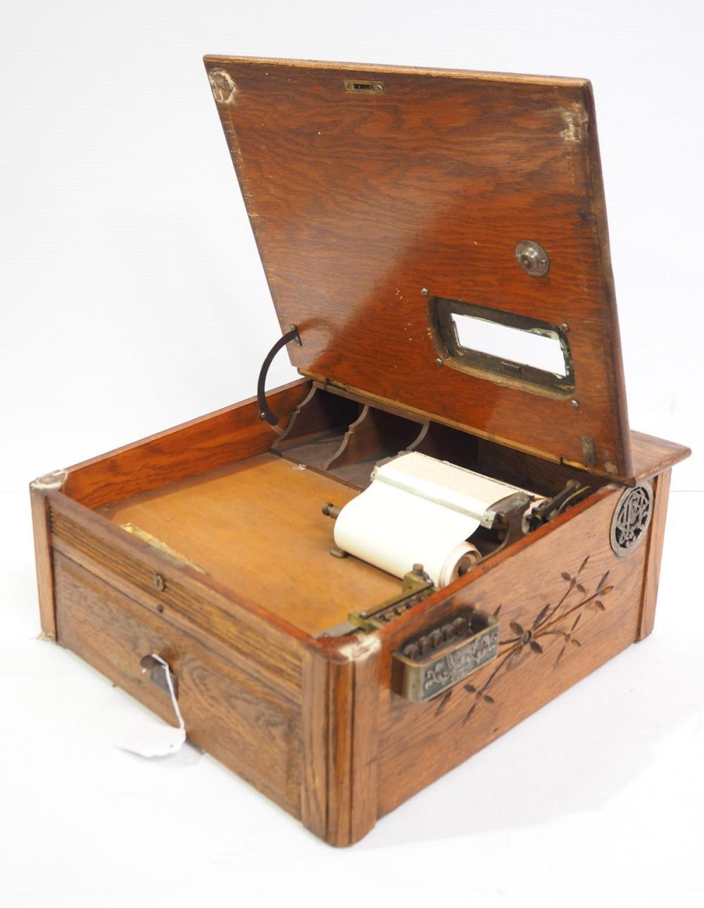 Pecks oak combination cash register