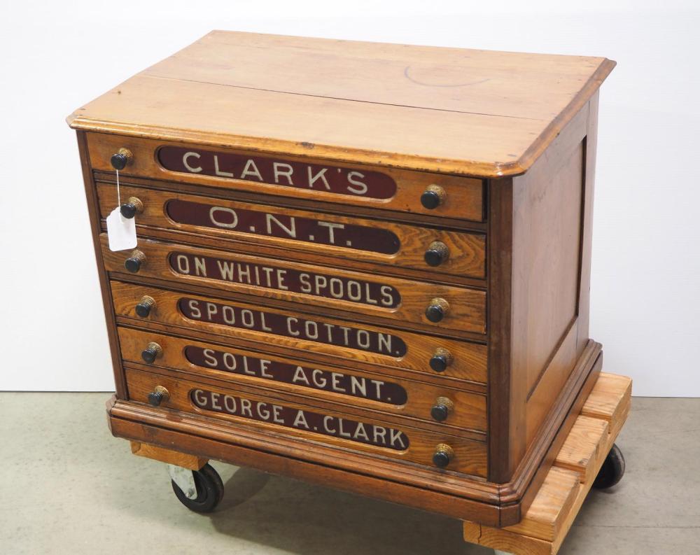 Clark's 6-drawer wooden spool cabinet