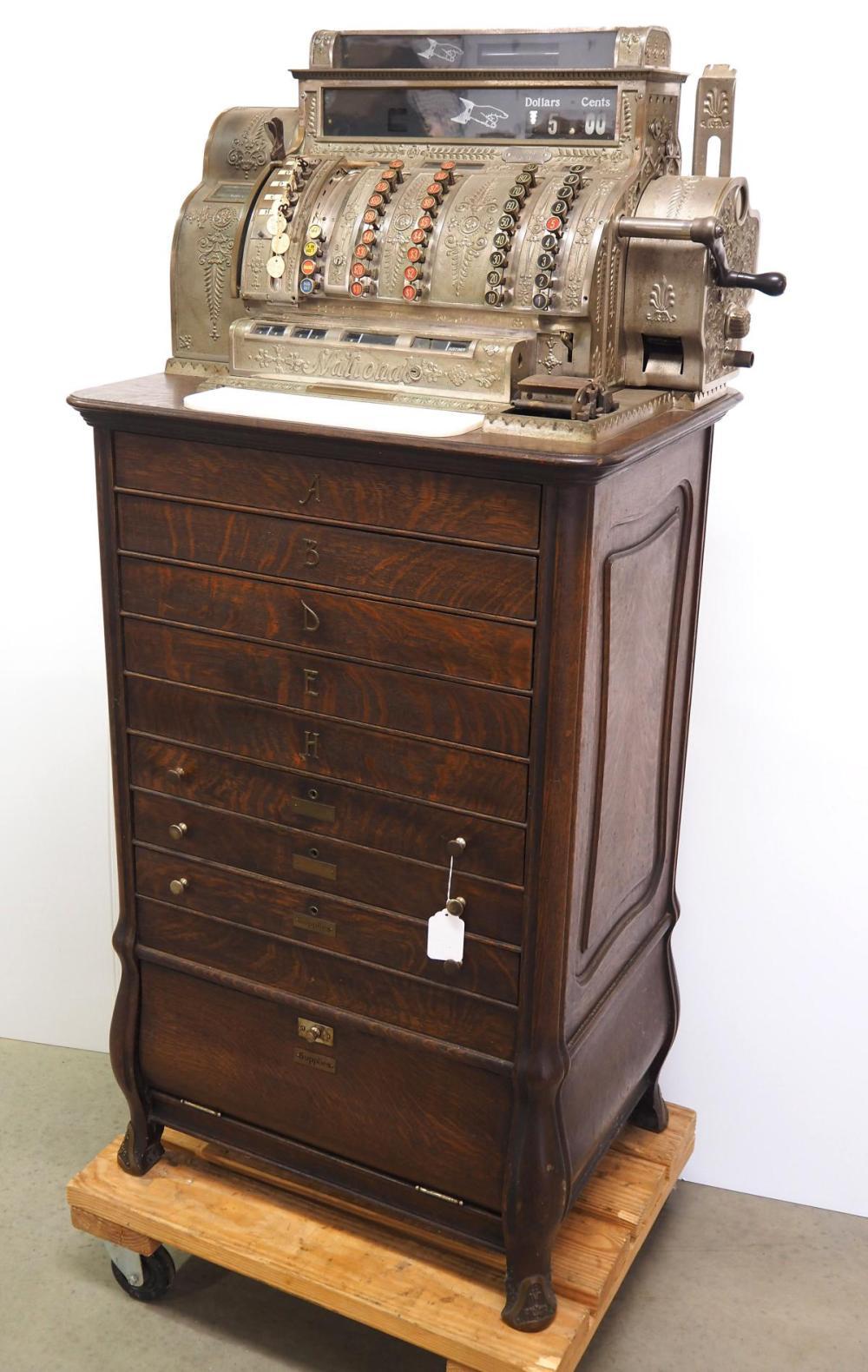 National cash register with cabinet