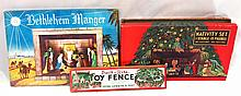 (3) NOS Built Rite sets: Nativity set, #19 Bethlehem Manger & No.3 Toy Fence - boxes fair to great, contents near mint!