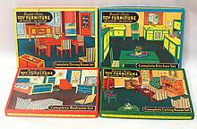 (4) Sets NOS Built-Rite Toy Furniture Sets #75, #76, #77, #78 - all boxes & contents near mint