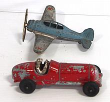 (2) Hubley Kiddie Toys: airplane & race car - both very good with paint wear