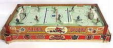 1957 Tabletop NHL Pro Hockey Game with uniformed players, Montreal vs. Toronto - toy is good, handles missing, box is fair