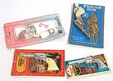(4) NIB Cap gun blister packs: Kusan Western Heritage, Roth American