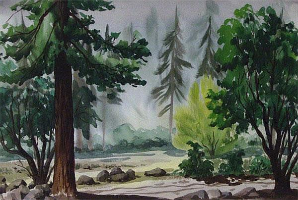 Art Landy (1904-1977) Californian FOREST SCENE,